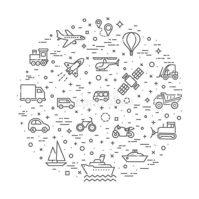 Vervoerpictogrammen, dun lijnontwerp royalty-vrije illustratie