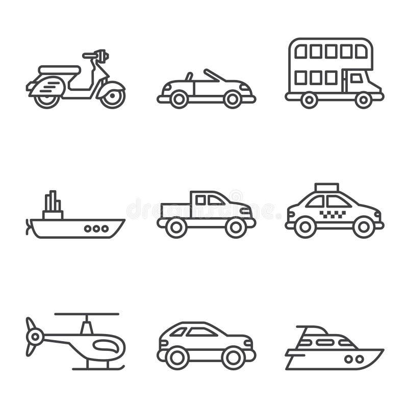 Vervoerpictogrammen, eenvoudige en dunne lijn vector illustratie