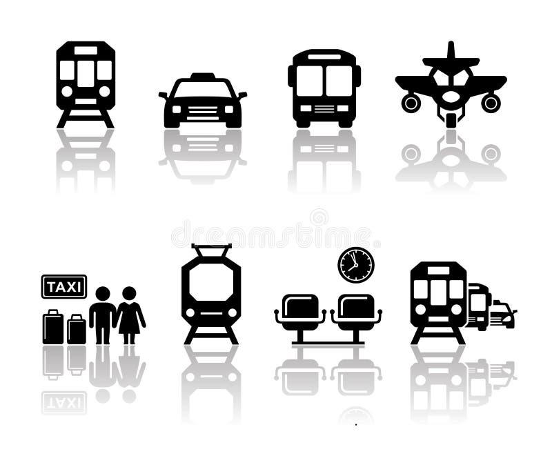 Vervoerpictogrammen met bezinning stock illustratie