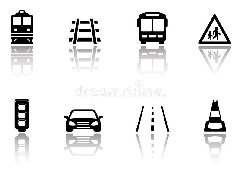 Vervoerpictogrammen met bezinningssilhouet dat worden geplaatst stock illustratie