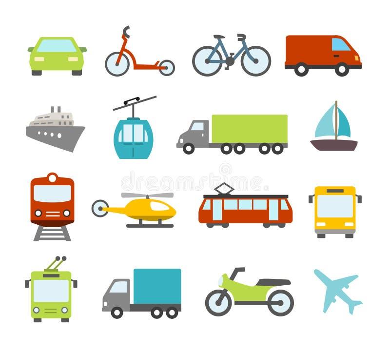 Vervoerpictogrammen in Vlakke Ontwerpstijl vector illustratie