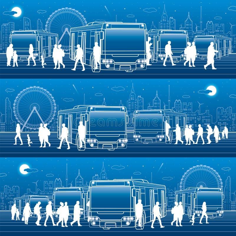 Vervoers panoramische reeks De passagiers gaan en gaan aan de bus binnen weg Mensen bij de post Stadsvervoersinfrastructuur Nacht royalty-vrije illustratie