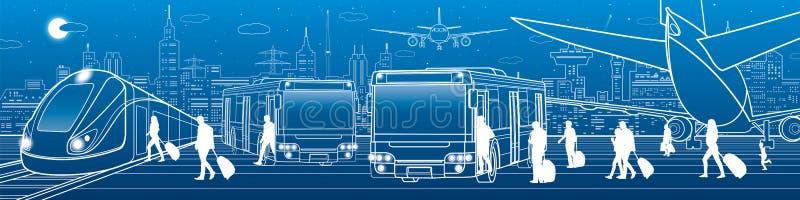 Vervoerspanorama De passagiers gaan en gaan om per bus te vervoeren binnen weg De mensen krijgen op trein De infrastructuur van d royalty-vrije illustratie