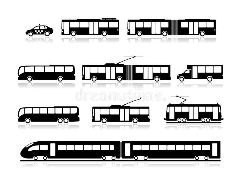Vervoerspictogrammen - openbaar vervoer royalty-vrije illustratie