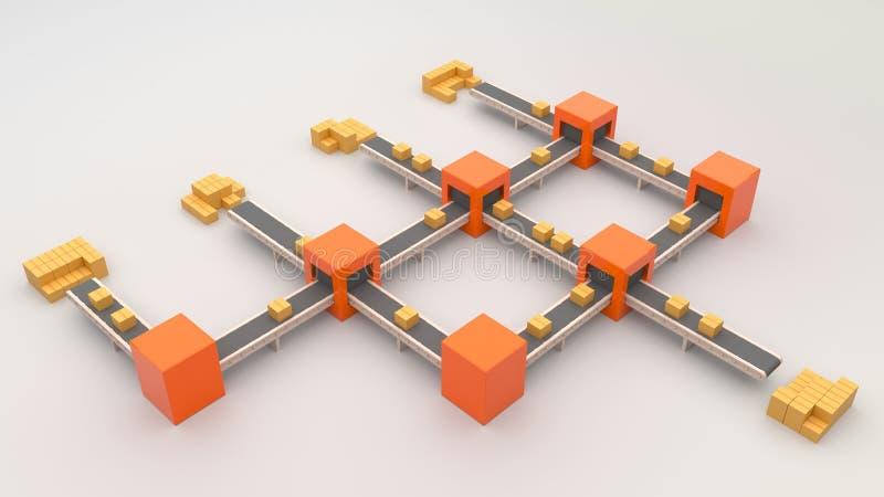 Vervoerssysteem Pakkettenlevering, Pakketten op transportband royalty-vrije stock afbeeldingen