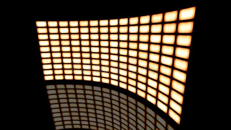 Vervormde gebogen videomuur uitstekende sepia draai aan recht het 3d teruggeven royalty-vrije illustratie