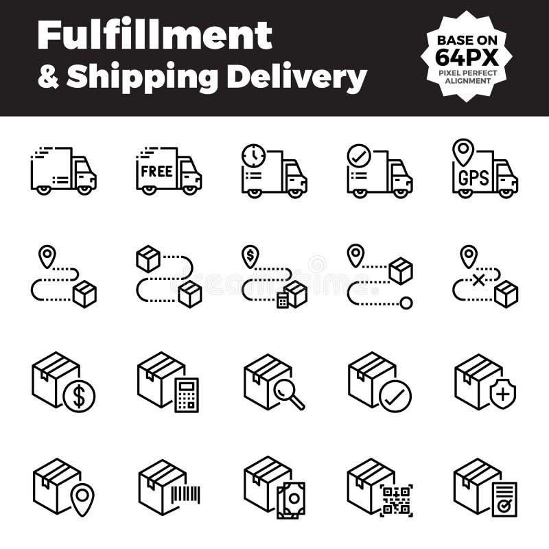 Vervulling en de verschepende pictogrammen van het leveringsoverzicht stock illustratie