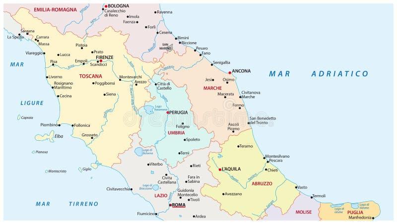 Verwaltungs- Karte der Regionen von Mittel-Italien lizenzfreie abbildung
