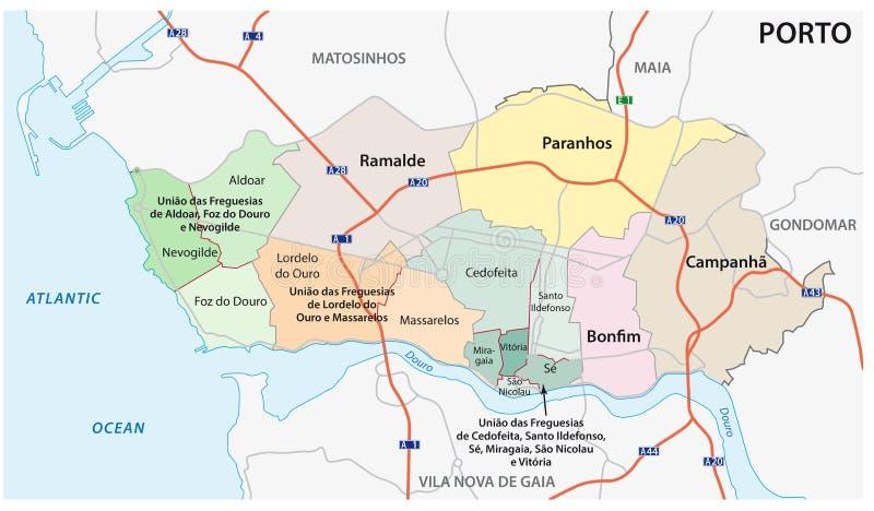 Verwaltungs-, politische und Straßenkarte der portugiesischen Stadt von Porto stock abbildung