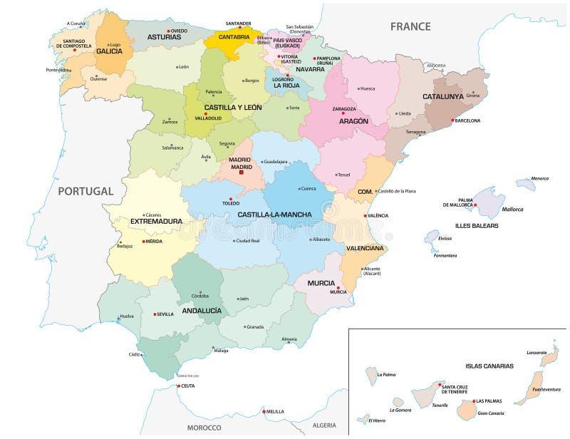 Verwaltungs- und politische gefärbt Vektorkarte der spanischen Provinzen und der Regionen lizenzfreie abbildung