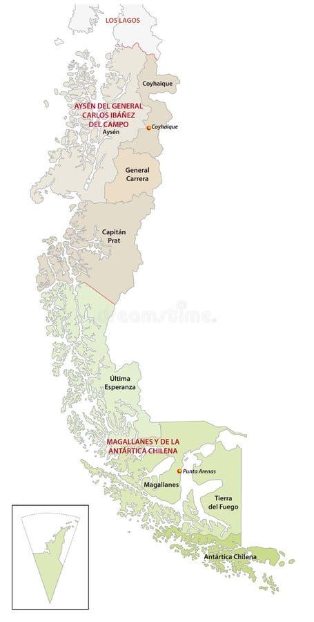 Verwaltungs- und politische Karte der südlichen chilenischen Regionen lizenzfreie abbildung