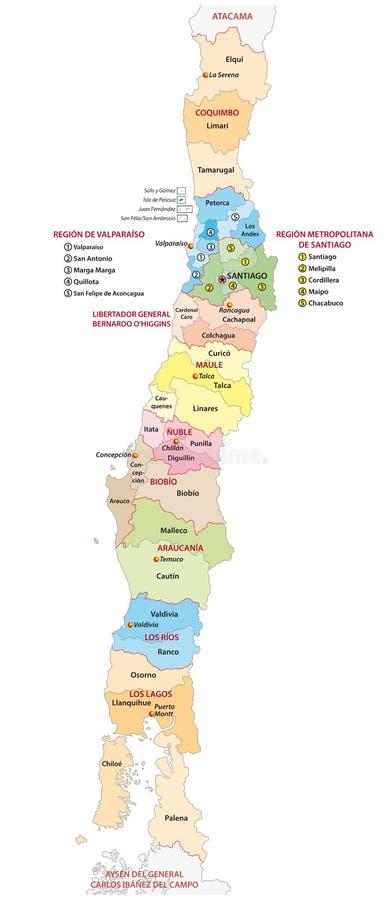 Verwaltungs- und politische Karte der zentralen chilenischen Regionen lizenzfreie abbildung