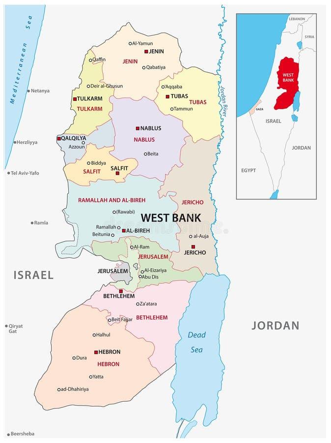 Verwaltungs- und politische Vektorkarte der West Bank vektor abbildung
