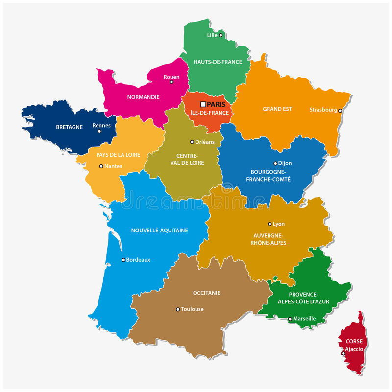 Verwaltungskarte der 13 Regionen von Frankreich seit 2016 stock abbildung