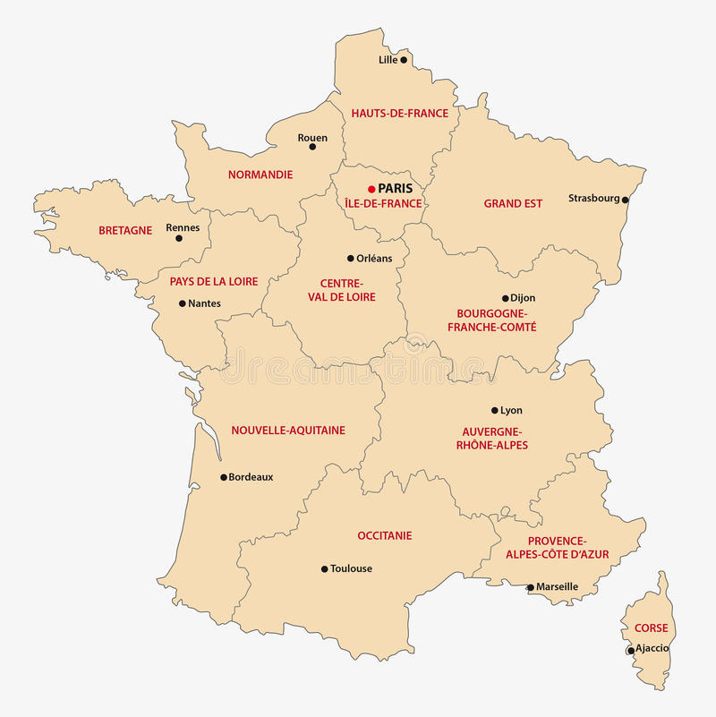 Verwaltungskarte der 13 Regionen von Frankreich seit 2016 vektor abbildung