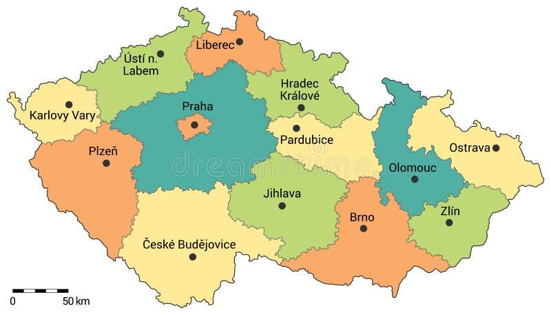 Verwaltungskarte der Tschechischen Republik vektor abbildung