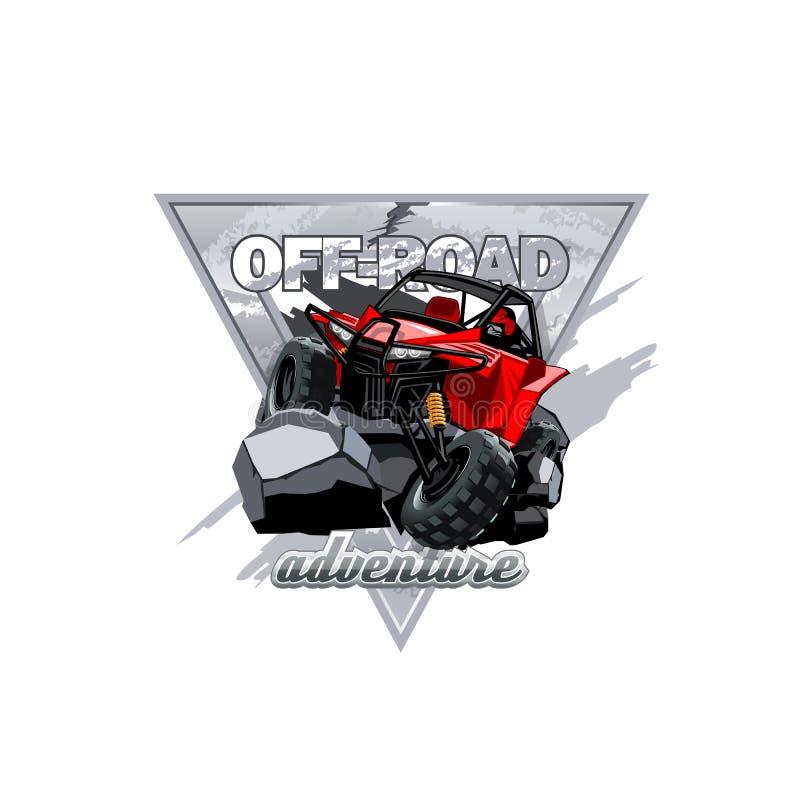 Verwanztes Logo ATV nicht für den Straßenverkehr, Abenteuer in den Bergen lizenzfreie abbildung