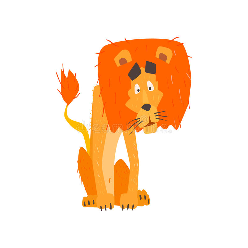 Verward Lion Flat Cartoon Stylized royalty-vrije illustratie