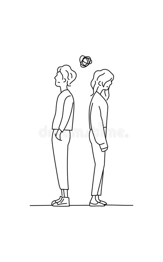 Verward paar het denken over hun krabbel die van het verhoudingsprobleem vectorillustratie trekken de jongen en het meisje gaan o stock illustratie