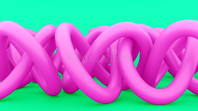 Verwarde abstracte draden, pijpen, of knopen Roze verwarde draad op groene achtergrond Modern abstract ontwerp 3d geef terug royalty-vrije illustratie