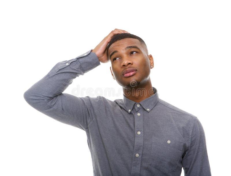 Verwarde Afrikaanse Amerikaanse mens royalty-vrije stock fotografie