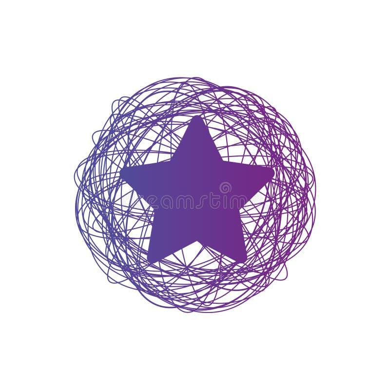 Verwarde cirkelclew met ster in de midden, Gekleurde ingewikkelde textuur Chaotische kleurrijke verwarde cirkels Chaosstrepen Vec royalty-vrije illustratie