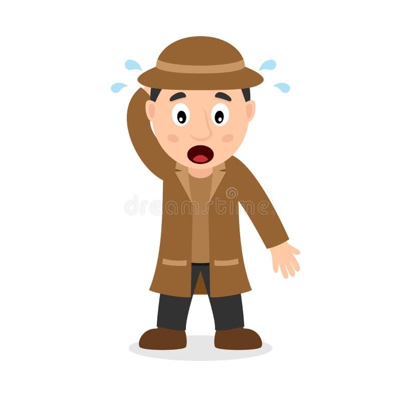 Verwarde Detective Cartoon Character stock illustratie