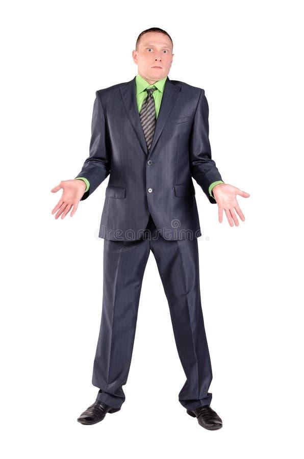 Verwarde geïsoleerde zakenman stock afbeeldingen