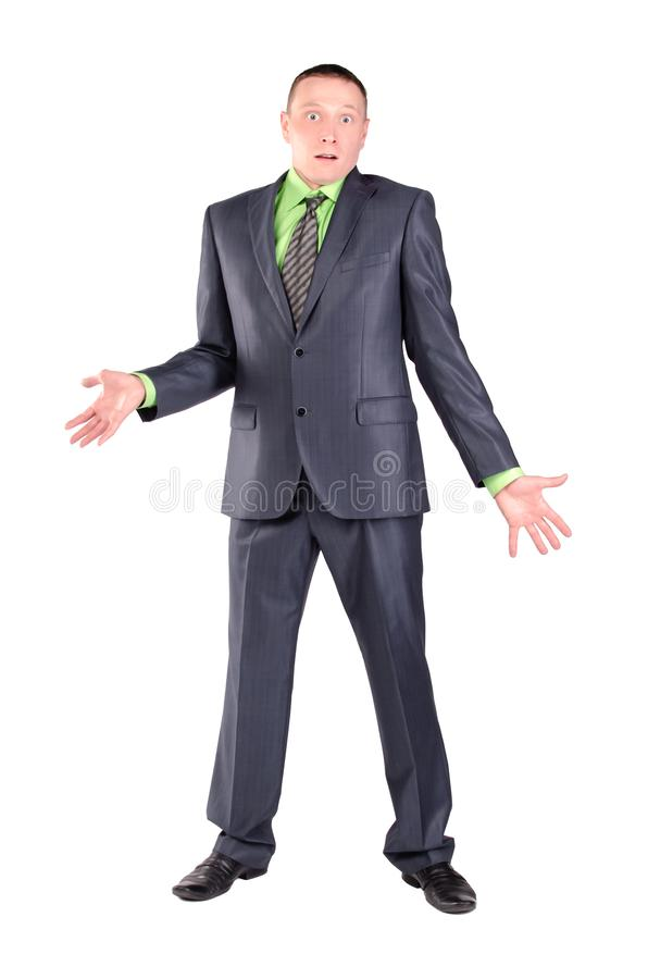 Verwarde geïsoleerde zakenman royalty-vrije stock afbeelding