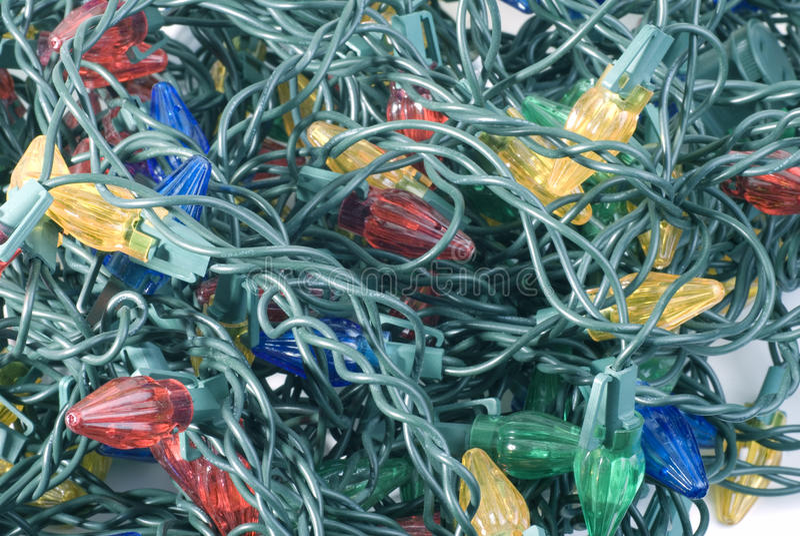 Verwarde Kerstmis knoeit van Lichten royalty-vrije stock foto's