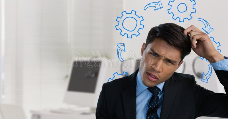 Verwarde mens die zijn die hoofd en fronsen krassen door radertjes wordt omringd stock fotografie