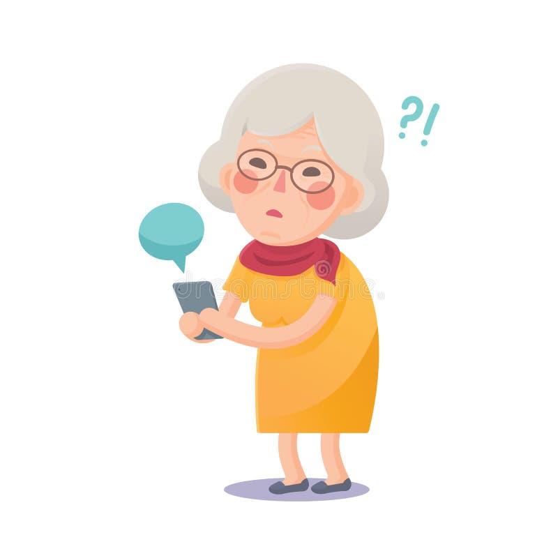 Verwarde Oma die Slimme Telefoon met behulp van vector illustratie