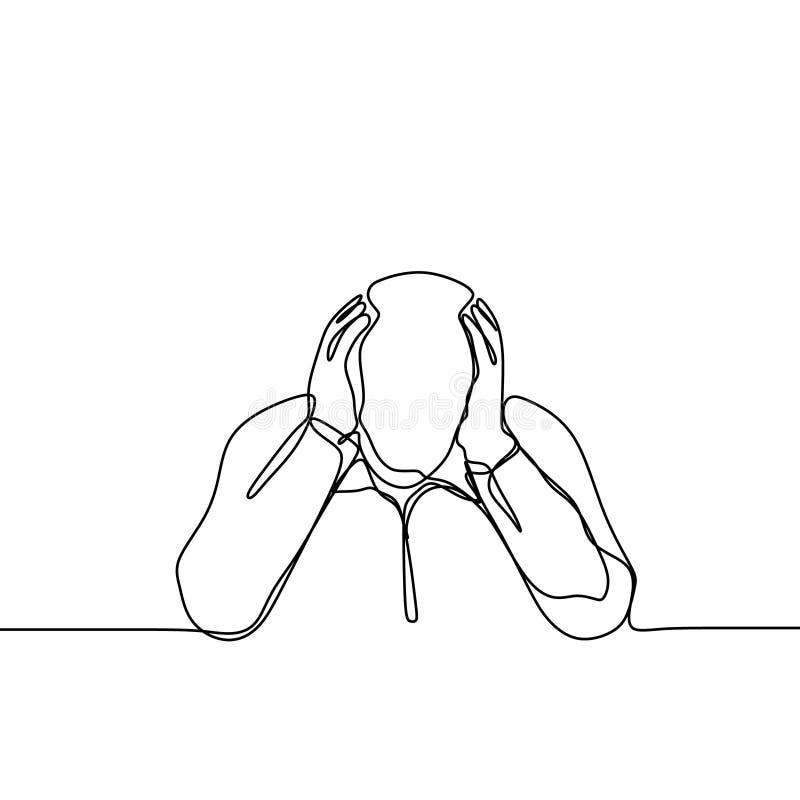 Verwarde persoon ononderbroken de vectorillustratie van de lijntekening vector illustratie