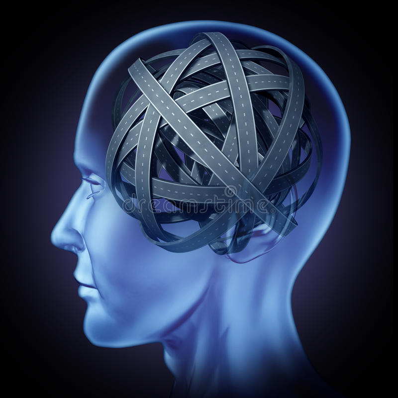 Verwarde in verwarring gebrachte menselijke hersenen royalty-vrije illustratie