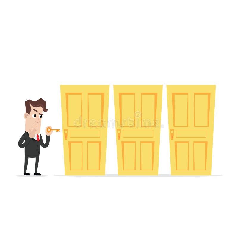 Verwarde zakenman die een sleutel houden die de juiste deur kiezen royalty-vrije illustratie