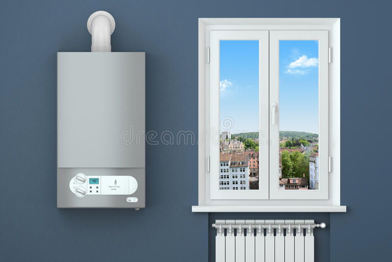 Verwarmend huis. Gasboiler, venster, het verwarmen radiator. stock foto's