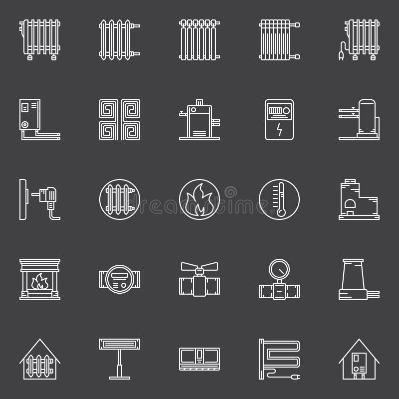Verwarmende lineaire pictogrammen stock illustratie