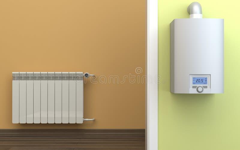 Verwarmende radiator en gasboiler, 3D illustratie royalty-vrije illustratie