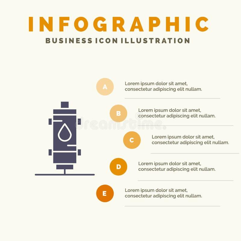 Verwarmer, Water, Hete Hitte, Gas, de Presentatiemalplaatje van Geiserinfographics 5 stappenpresentatie stock illustratie