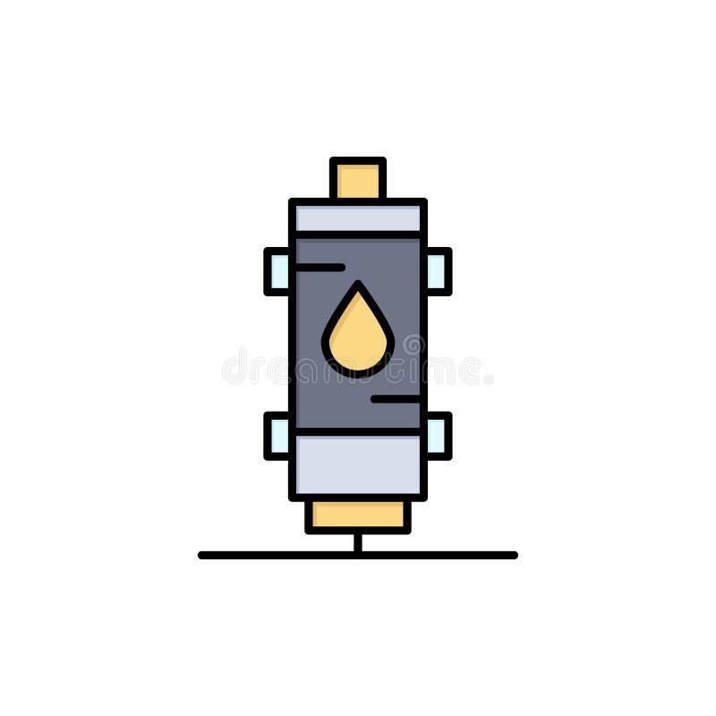 Verwarmer, Water, Hete Hitte, Gas, Pictogram van de Geiser het Vlakke Kleur Het vectormalplaatje van de pictogrambanner stock illustratie