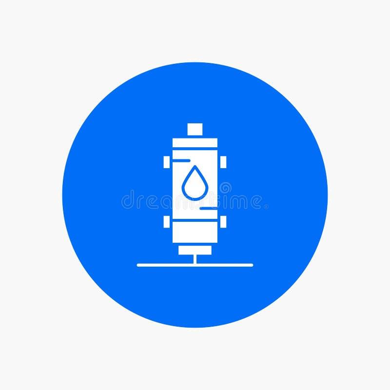 Verwarmer, Water, Hete Hitte, Gas, pictogram van Geiser het witte glyph vector illustratie