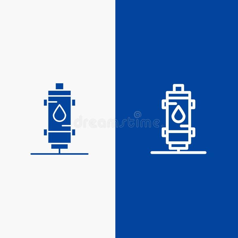 Verwarmer, Water, Hitte, Heet, Gas, Geiserlijn en Stevige het pictogram Blauwe banner van Glyph royalty-vrije illustratie