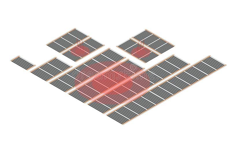 Verwarmingssysteem van de Isometry het infrarode vloer royalty-vrije illustratie