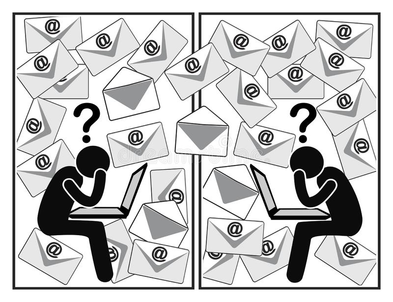 Verwarrende e-mailmededeling stock illustratie