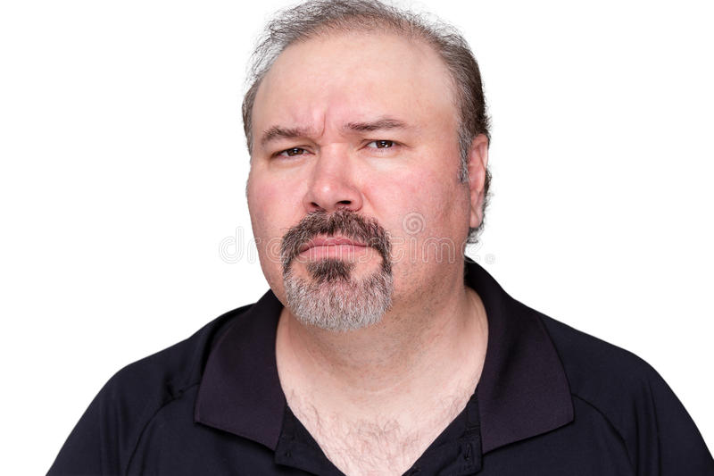 In verwarring gebrachte mens op middelbare leeftijd met een sik stock fotografie