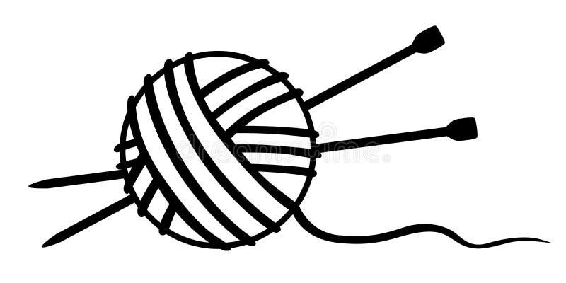 Verwarring van draad en breinaalden stock illustratie