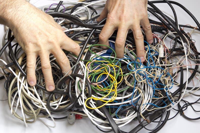 Verwarring van kabels en draden royalty-vrije stock foto's