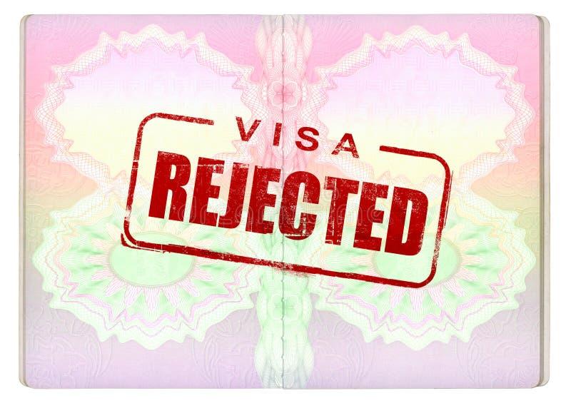 Verweigertes Visum auf Paß lizenzfreie abbildung