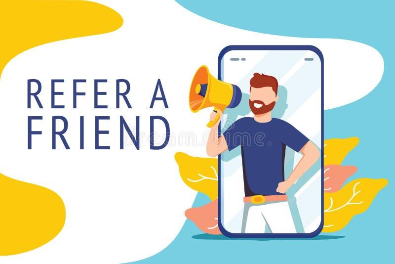 Verweisen Sie ein Freundillustrationskonzept, Leuteruf auf Megaphon mit, ein Freundwort zu verweisen, kann für Landungsseite verw stock abbildung