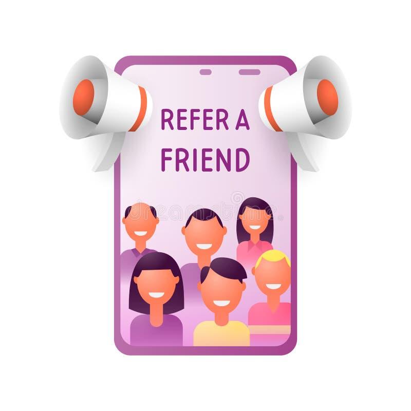 Verweisen Sie ein Freundkonzept Leute schreien in einem Megaphon mit dem Wortfreund Freund, der Empfehlungs-Code teilt lizenzfreie abbildung